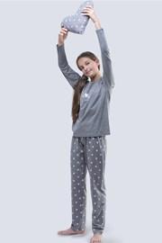Grauer Pyjama für Mädchen Meow