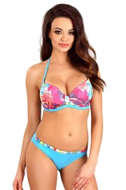Push-Up-Bikini Flowers Blue