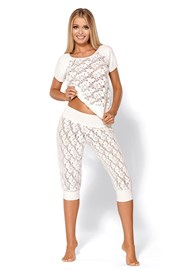 Verführerischer luxuriöser Pyjama Thelma Ecru